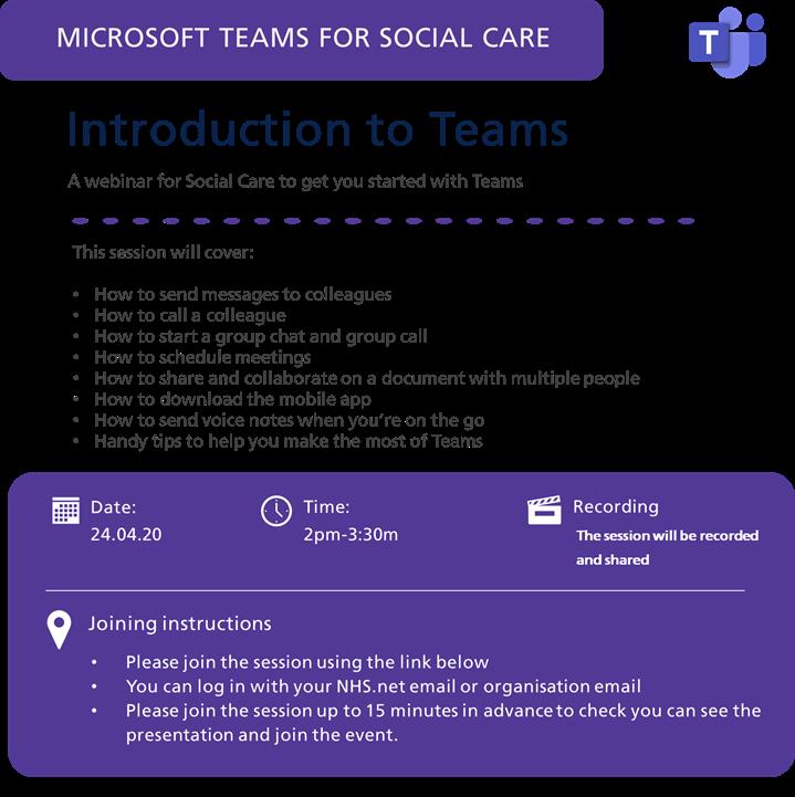 Introduction to Teams webinar flyer