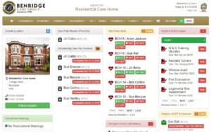 Home screen of Benridge Care software