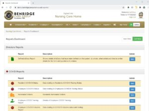 Report dashboard on Benridge Care software
