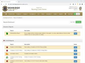 Report dashboard on Benridge Care software